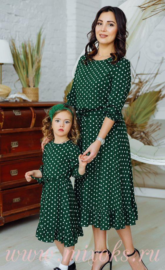Платья летние зелёные из хлопка для мамы и дочки