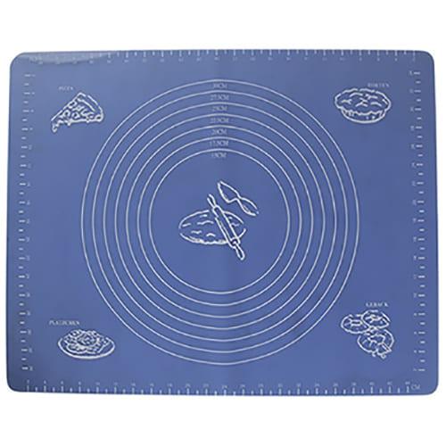 Силиконовый коврик для раскатывания теста, 65х45 см, цвет - синий.