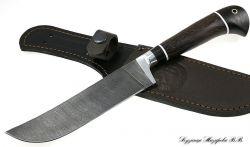 Нож Узбекский пчак, дамаск, рукоять черный граб венге