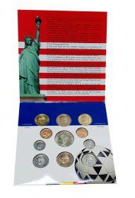 Бельгия. Набор 10 монет. 50 сентимо, 1, 5, 20, 50 франков + Жетон. 1994. Чемпионат по футболу.