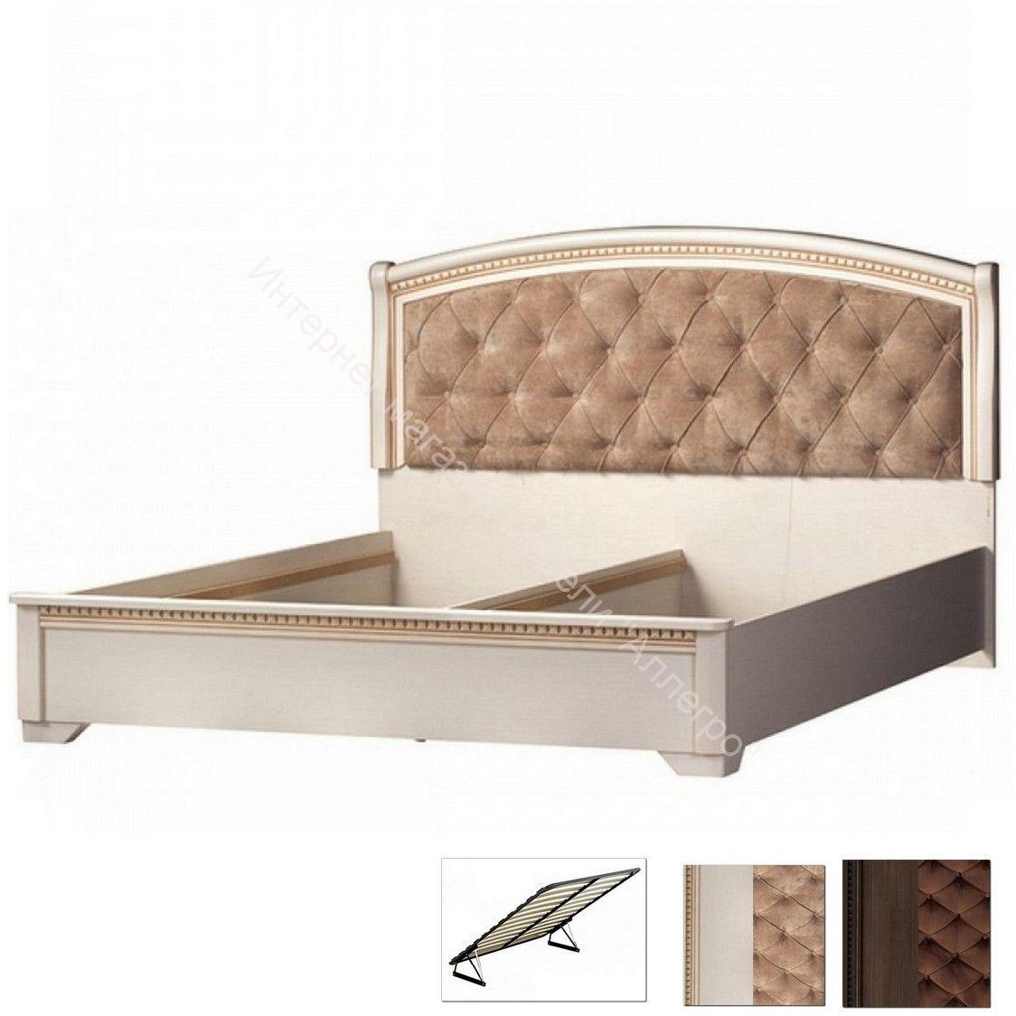 Кровать двойная с ПМ №806 Парма кремовый белый (1600)