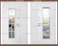 Входная дверь Агора 2200 х 1300 Белая со стекло-пакетом :