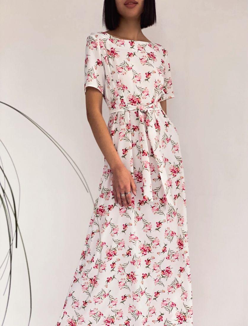 4255 Платье в пол белое с красными цветами