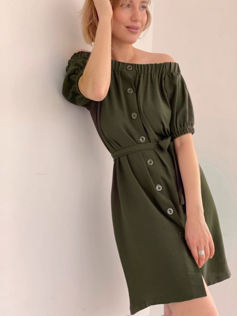 """4273 Платье с открытыми плечами в цвете """"хаки"""""""