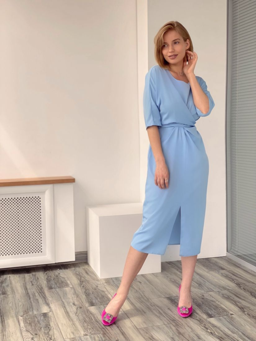 4274 Платье с перекрутами голубое