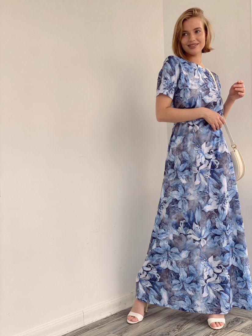 4277 Платье в пол с серо-голубым принтом