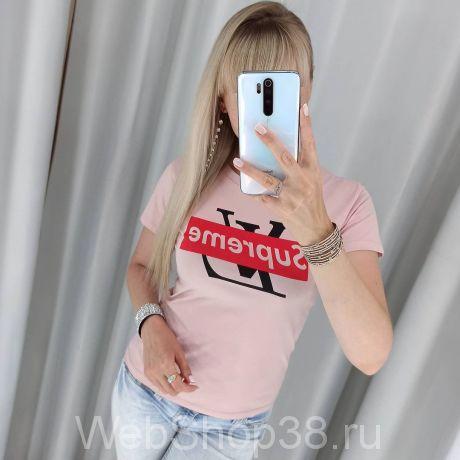 Розовая хлопковая футболка LV