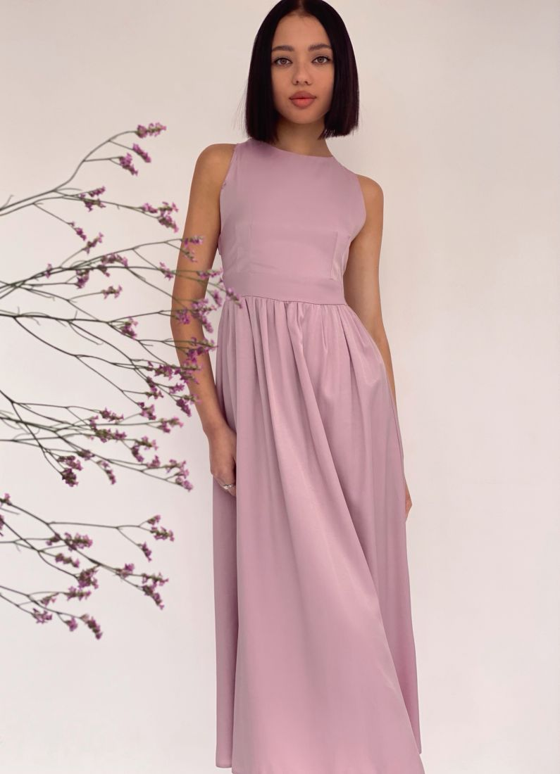 4300 Платье с перекрещёнными бретелями лавандовое