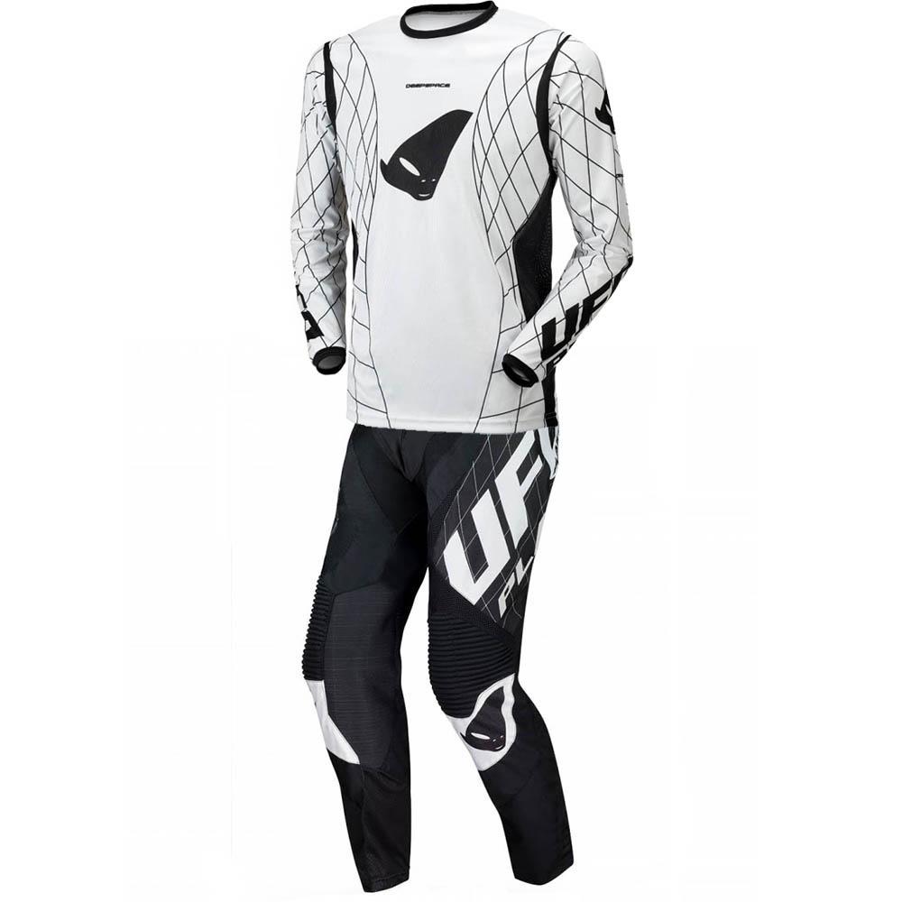 UFO Deepspace Black/White джерси и штаны для мотокросса, черно-белые