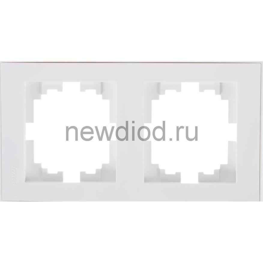 RAIN Рамка 2-ая вертикальная белая с боковой вставкой хром Lezard
