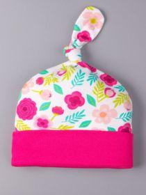 00-0021232 Шапка трикотажная с отвором, узелок, цветочки, розовый