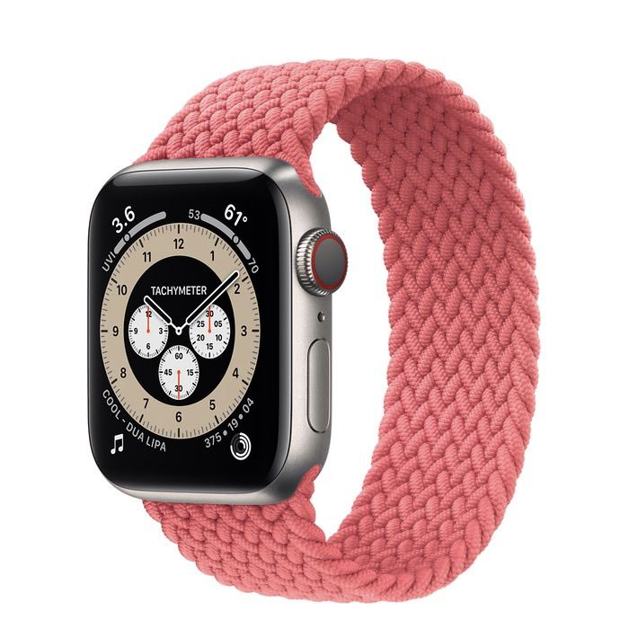 Часы Apple Watch Edition Series 6 GPS + Cellular 40mm Titanium Case with Pink Punch Braided Solo Loop