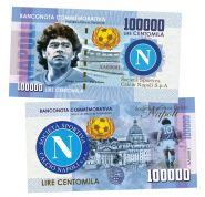 100 000 lire (лиры) — Марадона Диего Армандо. Италия. (Maradona. Napoly. Italy). Памятная банкнота. UNC