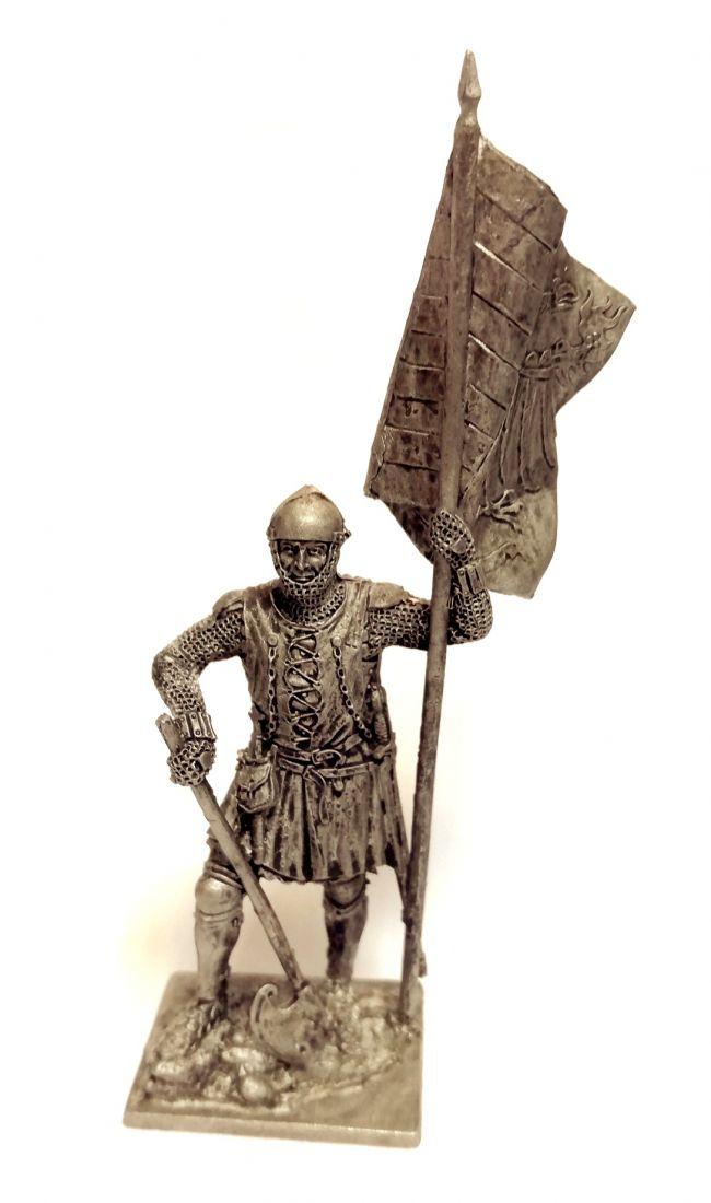 Фигурка Немецкий пехотинец со знаменем, 14в олово