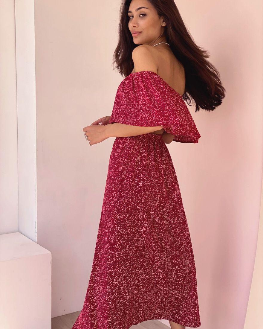 4348 Комплект из топа с воланом и юбки красный в горошек