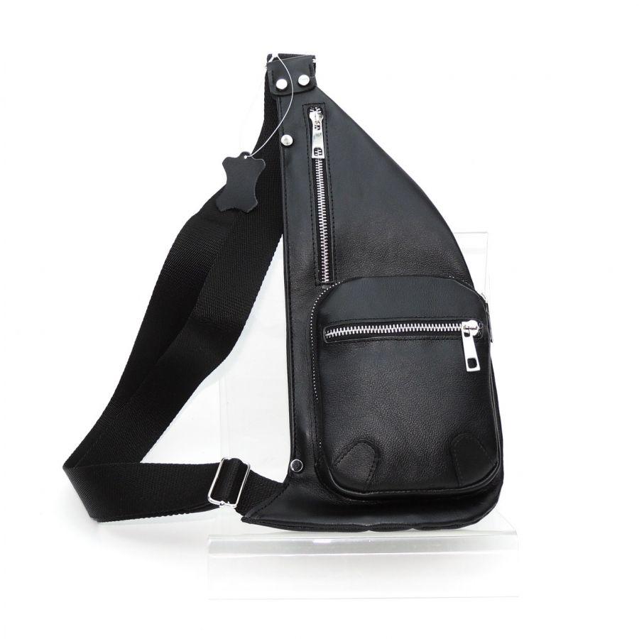 """Черная мужская кожаная сумка-слинг """"Лаки"""""""
