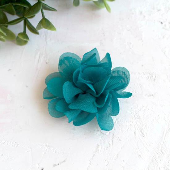 Цветок тканевый воздушный 4,5 см., бирюза