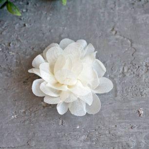 Цветок тканевый воздушный 4,5 см., кремовый