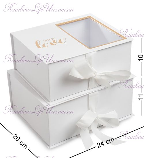 "Подарочная белая коробка 2 штуки ""With love"""