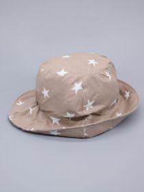 00-0026636  Панама для мальчика, белые звезды, темно-бежевый
