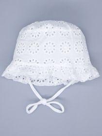00-0026657  Панама для девочки на завязках, крупный цветочный узор, молочный