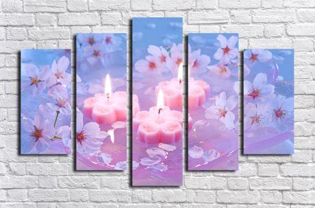 Модульная картина Свечи и цветы