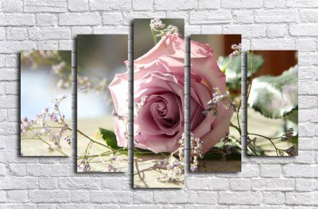 Модульная картина Роза розовая