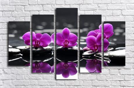 Модульная картина Орхидеи фиолетовые