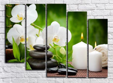 Модульная картина Орхидея со свечами