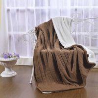 Вязанное плед-покрывало с мехом   KENZO №К23 (шоколад)