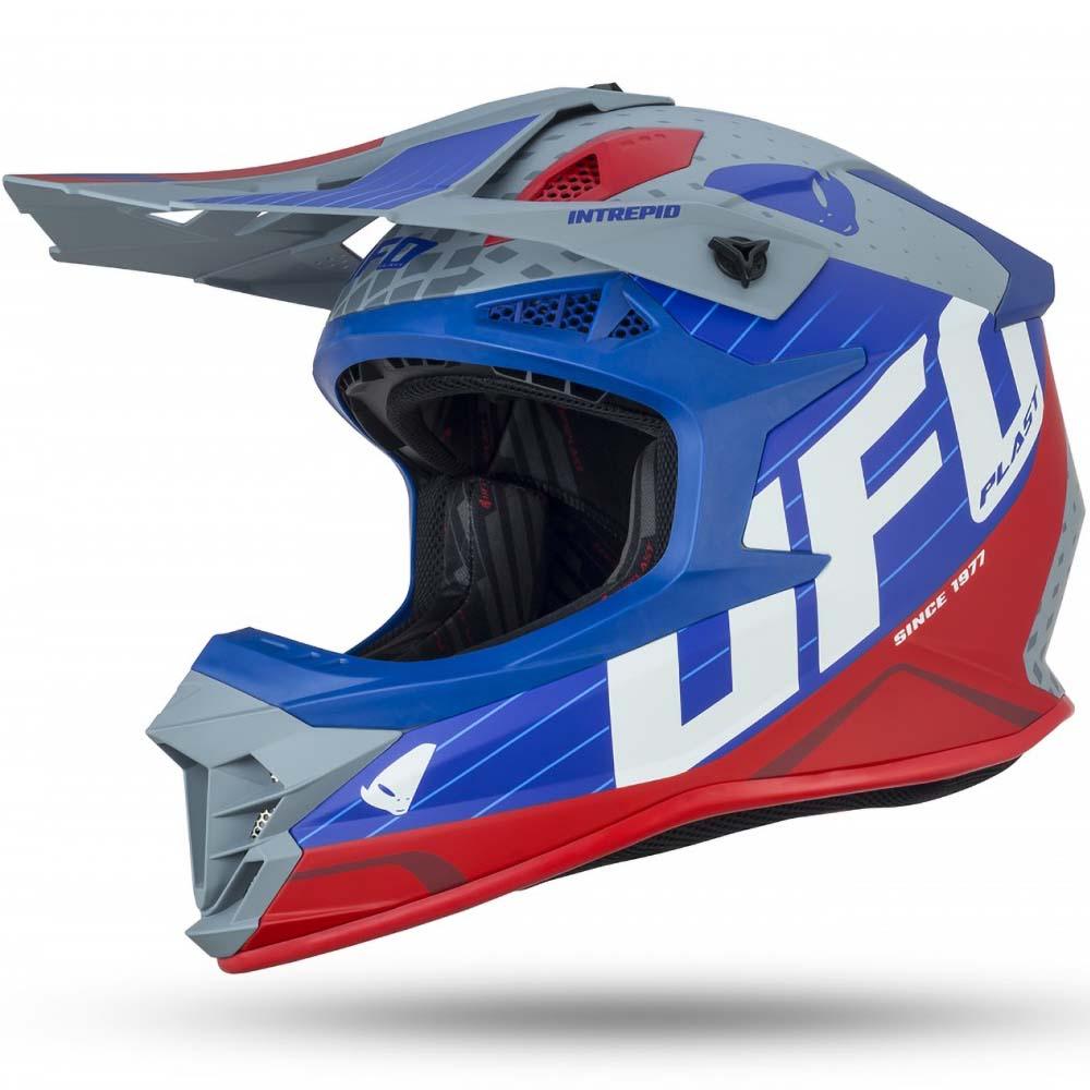 UFO Intrepid Helmet Blue/Grey/Red шлем для мотокросса, сине-красный