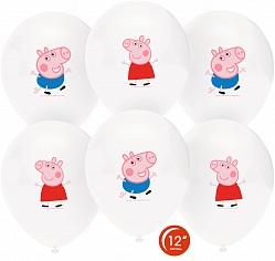 Шар (12''/30 см) Свинка Пеппа и Джордж, Белый, пастель, 1 ст, 25 шт.