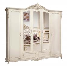 Шкаф Глория MK-2729-WG 5-дверный с зеркалами 256х64х250 см Молочный/коричневый 1шт. в 6кор.