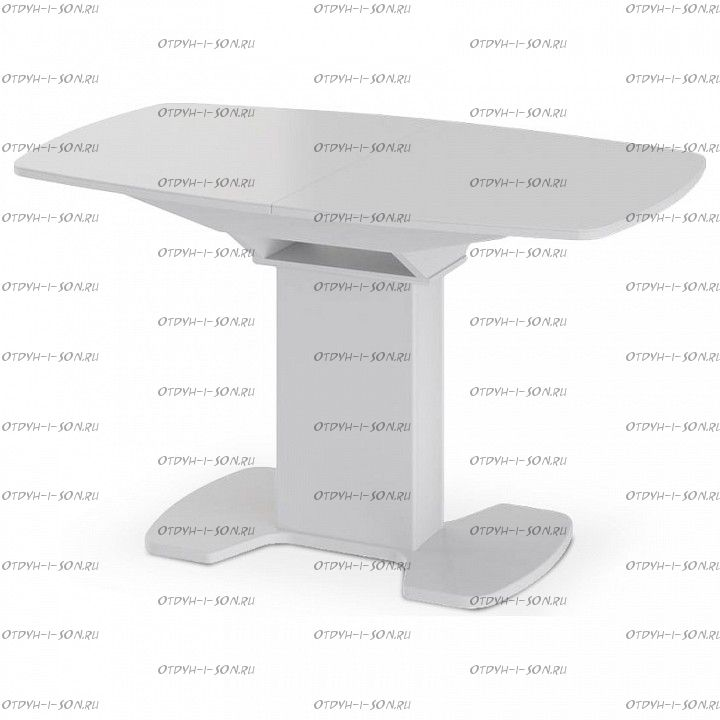 Стол обеденный Портофино СМ(ТД)-105.02.11(1) (1300 1 нога) Белый глянец/Стекло белое
