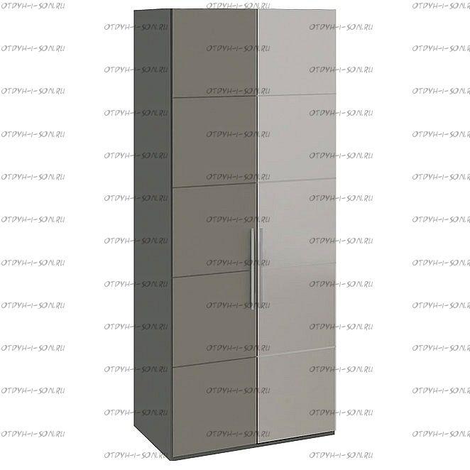 Шкаф для одежды Наоми СМ-208.07.04 с 2 дверями (Зеркало+Глухая) R Фон серый, Джут