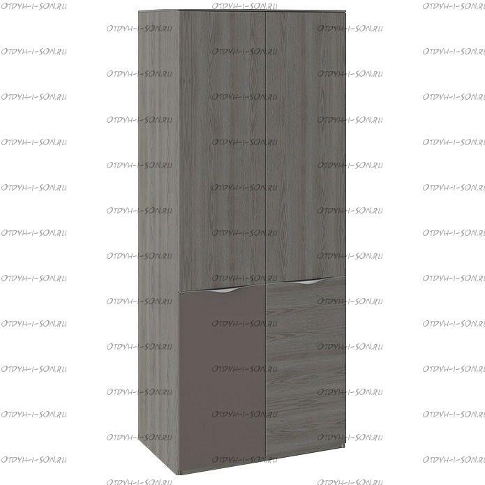 Шкаф для одежды с 1 дверью и 1 с ЛКП Либерти СМ-297.07.025 Хадсон/Фон Серый