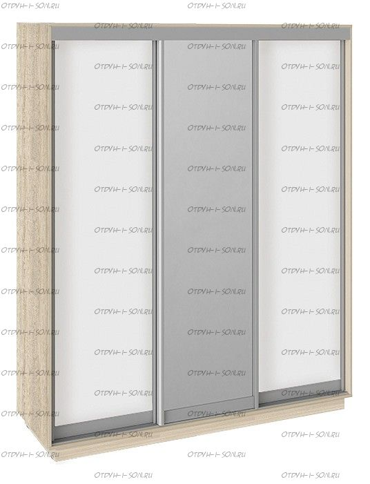 Шкаф-купе 3-х дверный Румер СШК 1.180.60-11.13.11 (1800x600x2200) Дуб сонома, Белый снег/Зеркало/ Белый снег
