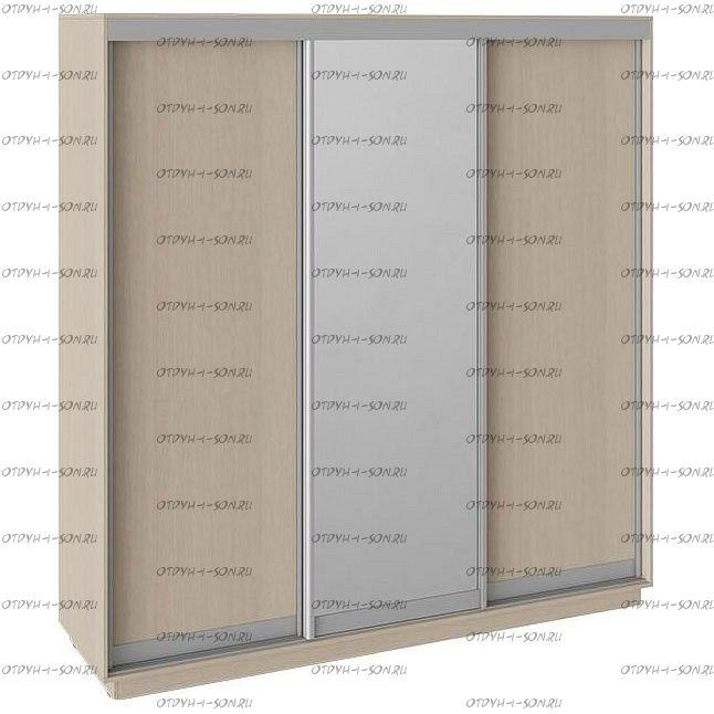 Шкаф-купе 3-х дверный Румер СШК 1.210.70-11.13.11 (2100x600x2200) Дуб молочный, Дуб молочный/зеркало/дуб молочный