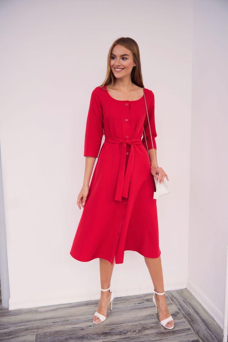 4024 Платье с декольте красное