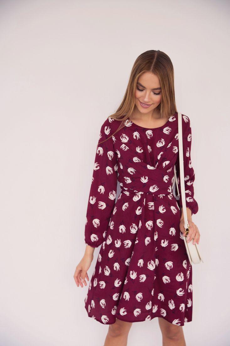 3527 Платье с перекрутами бордовое