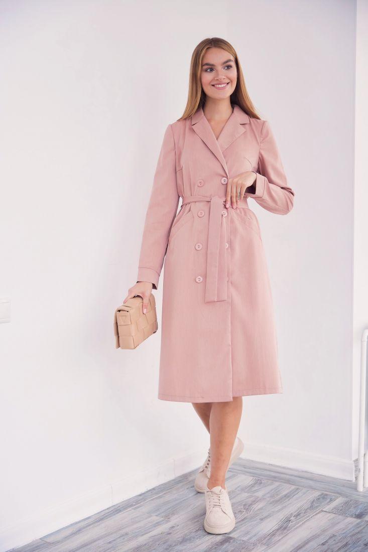 3242 Двубортное платье-жакет теплого бежевого цвета