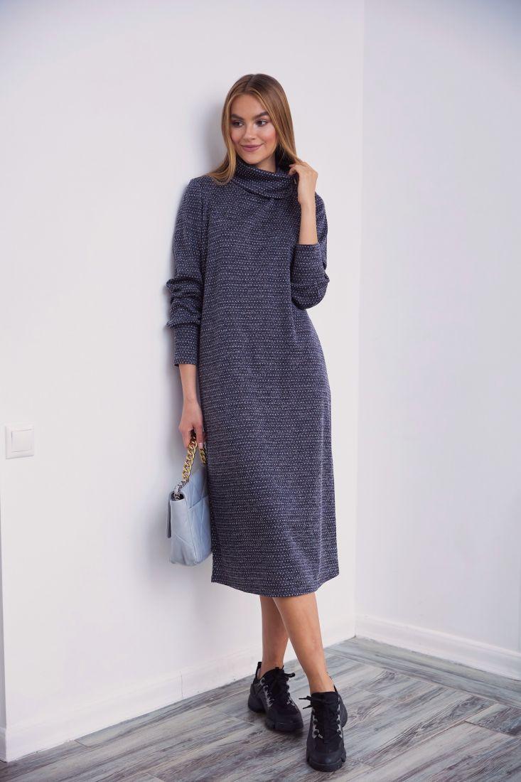 3450 Платье трикотажное с объёмными рукавами в цвете асфальт