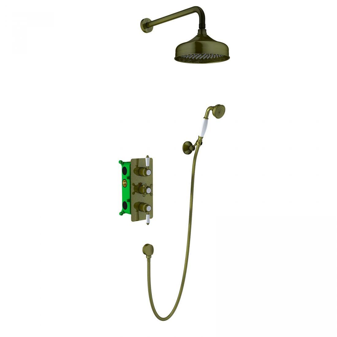 Душевая система Timo Nelson скрыт. монт., 2-х режимная, с термостатом (SX-1391/02SM antique)