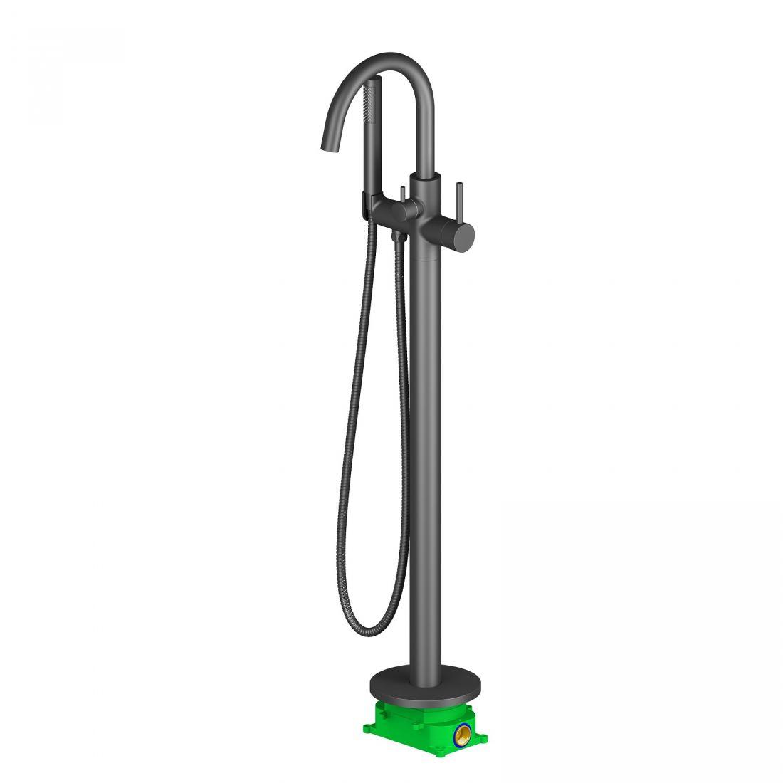 Смеситель напольный для ванны с душем Timo Saona черный (2310/03Y-CR)
