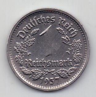 1 марка 1937 Германия G Карлсруэ UNC