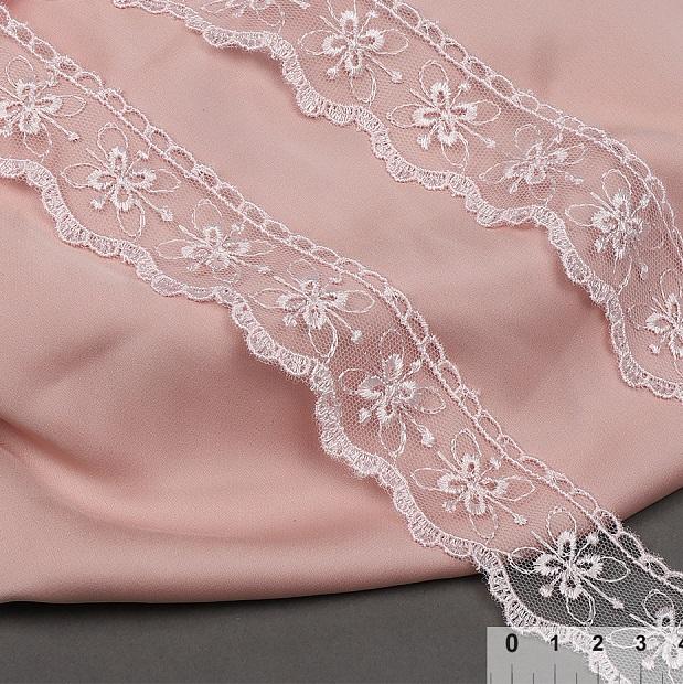 фото Кружево на сетке 35 мм. розовый TR2106.05
