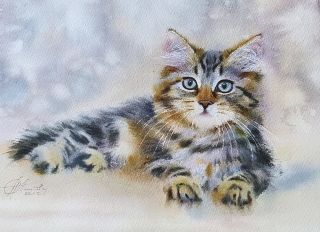 Postcard Watercolor cats 9