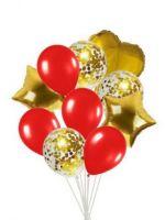 Набор шаров 10 шт,  золото, красный