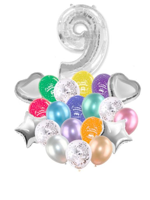 Воздушные шары набор «С Днем Рождения» с цифрой 9 серебро