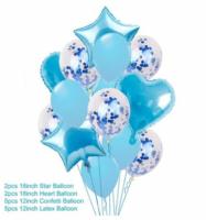 Цветные  гелиевые шары фонтан 14 шаров, голубой